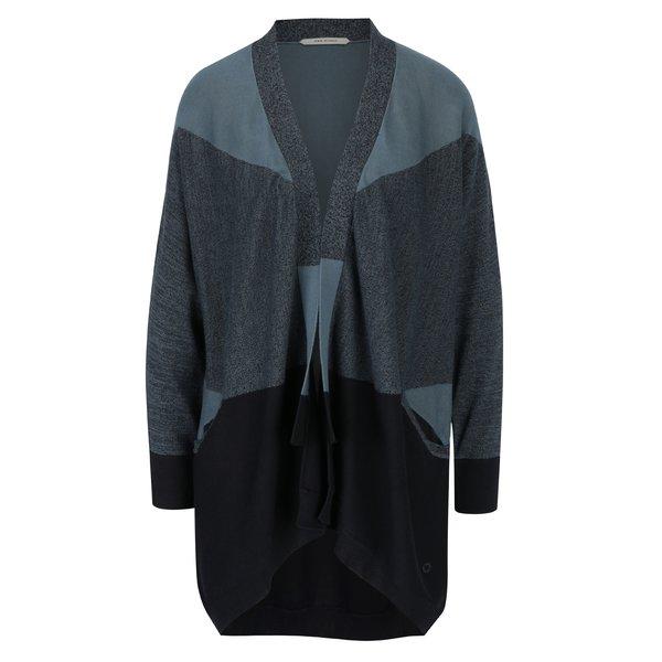 Cardigan lung negru&albastru cu buzunare Skunkfunk