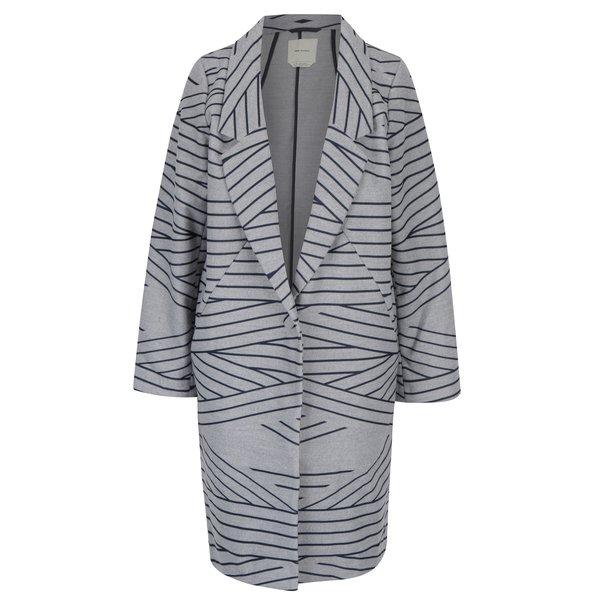 Palton gri&albastru inchis cu print geometric Skunkfunk