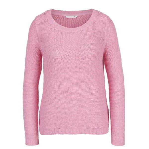 Pulover roz cu decolteu rotund - ONLY Geena