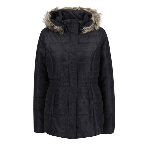 Geaca negru & gri inchis mata de iarna cu gluga si blana artificiala pentru femei LOAP Tamda