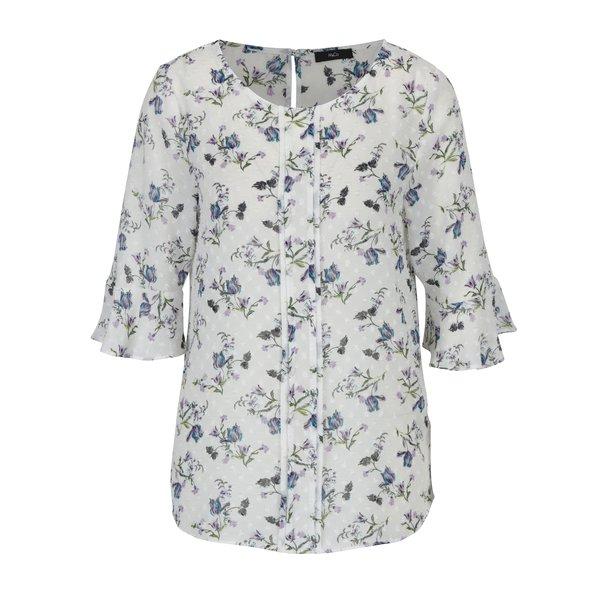 Bluza alba cu print floral multicolor si volanase frontale M&Co