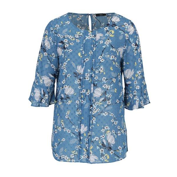 Bluza albastra cu print floral multicolor si volanase frontale M&Co