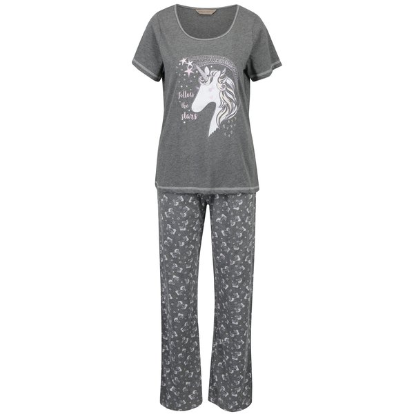 Set pijama gri cu print unicorn Dorothy Perkins