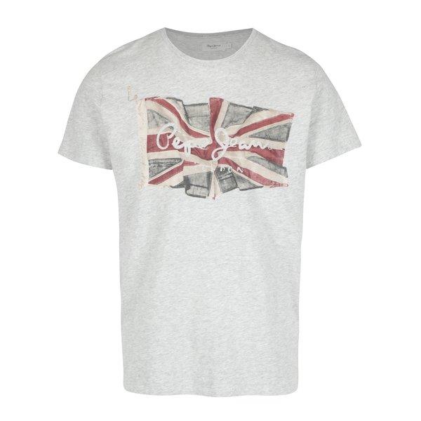 Tricou gri melanj cu print logo Pepe Jeans FLAG TEE