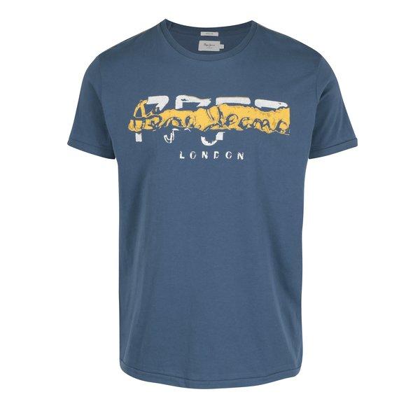 Tricou albastru&galben cu print logo Pepe Jeans MAIDEN