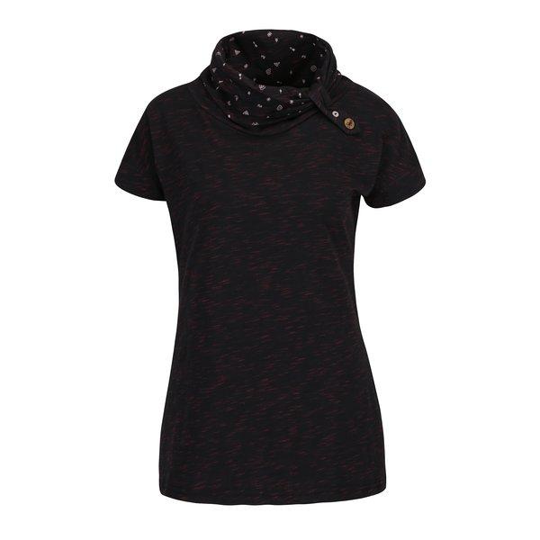 Tricou negru melanj cu guler inalt si print geometric Ragwear Highway