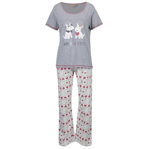 Set pijama gri&roz inchis cu print catelusi Dorothy Perkins