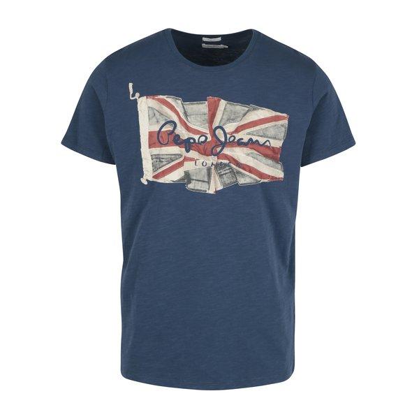 Tricou albastru cu print logo Pepe Jeans FLAG TEE