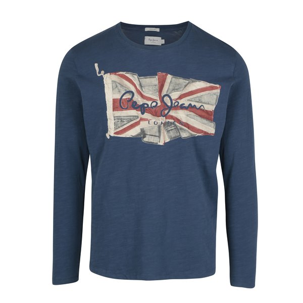 Bluza bleumarin cu print logo - Pepe Jeans FLAG TEE