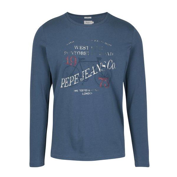Bluza slim albastra cu print inscriptie Pepe Jeans AVENUE
