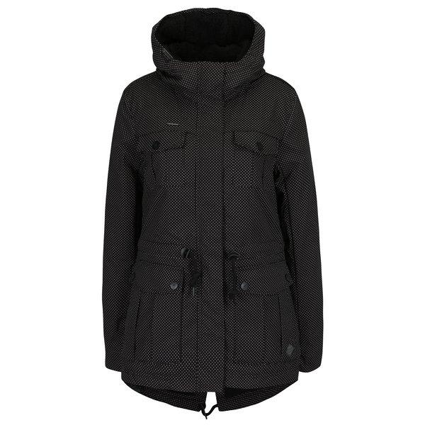 Geaca neagra parka de iarna cu print pentru femei - Ragwear Laika Minidots