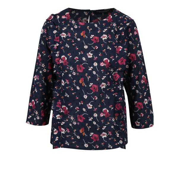 Bluza bleumarin cu print floral si volane frontale Dorothy Perkins
