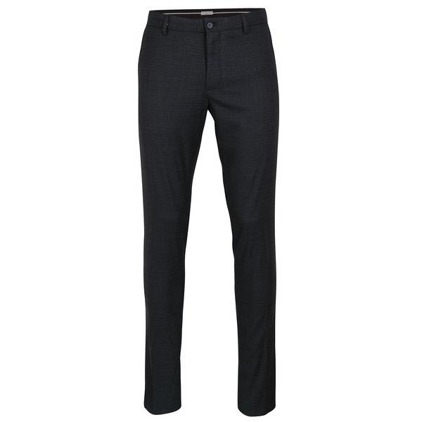 Pantaloni skinny bleumarin cu model discret - Selected Homme Math