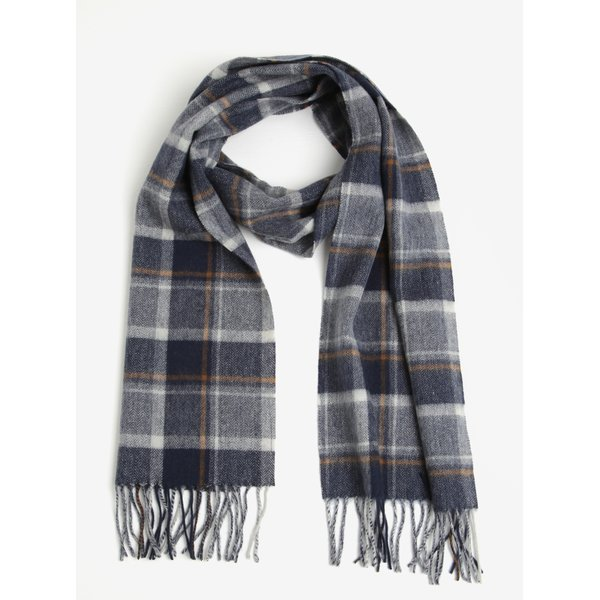 Fular din lana cu carouri bleumarin & crem si franjuri - Selected Homme Tope