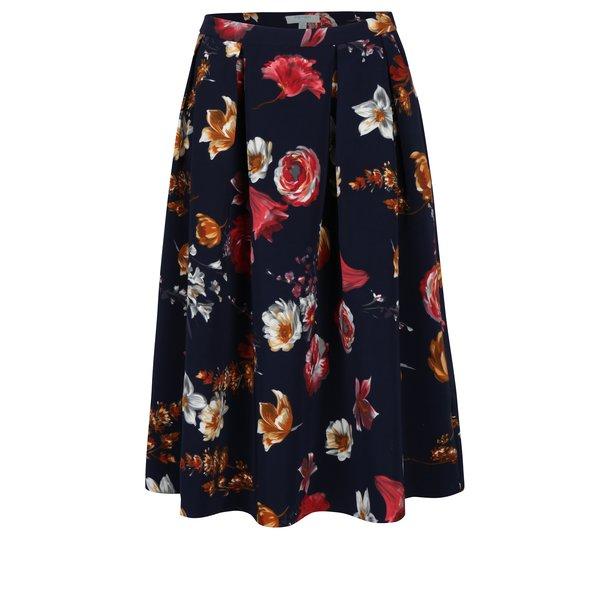 Fusta cu pliuri bleumarin cu print floral Fever London Elodie
