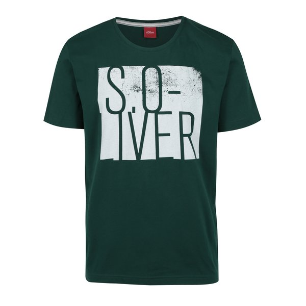 Tricou verde & alb regular fit cu print pentru barbati s.Oliver