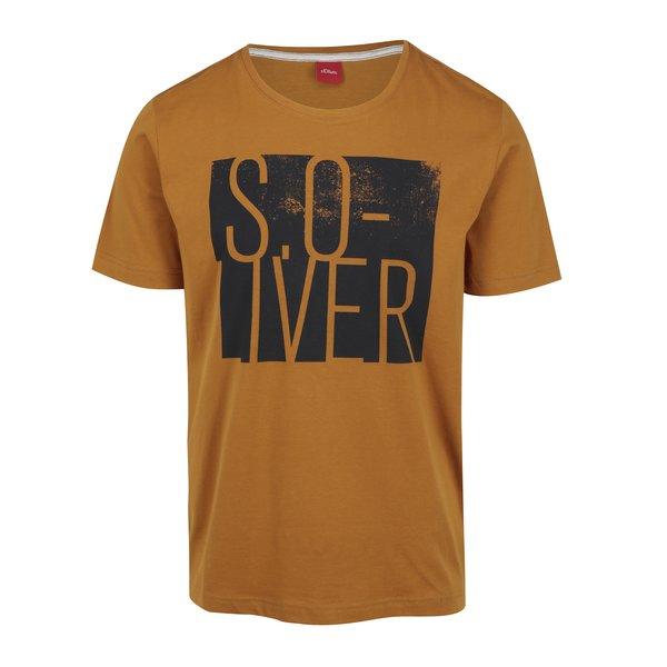 Tricou galben-mustar regular fit cu print pentru barbati s.Oliver