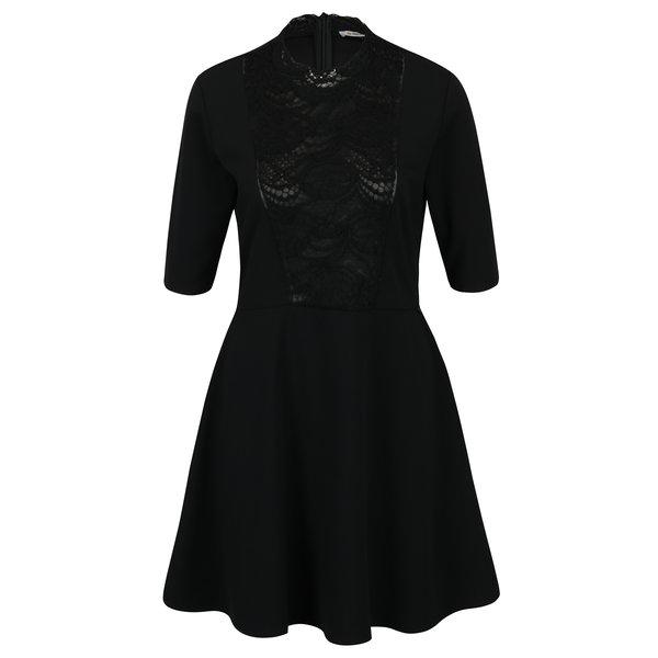 Rochie neagra cu insertie de dantela – Rich & Royal