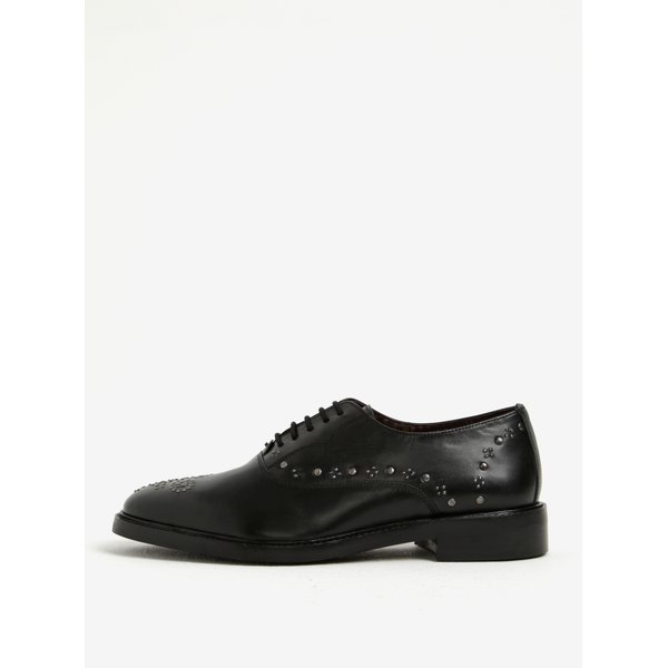 Pantofi brogue negri din piele naturala cu aplicatii metalice – London Brogues Brut Oxford