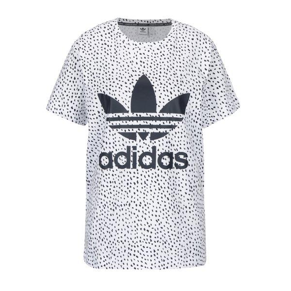Tricou alb cu print marunt si logo pentru femei adidas Originals
