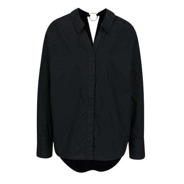 Bluza neagra cu inel decorativ la spate VERO MODA Cherry ring