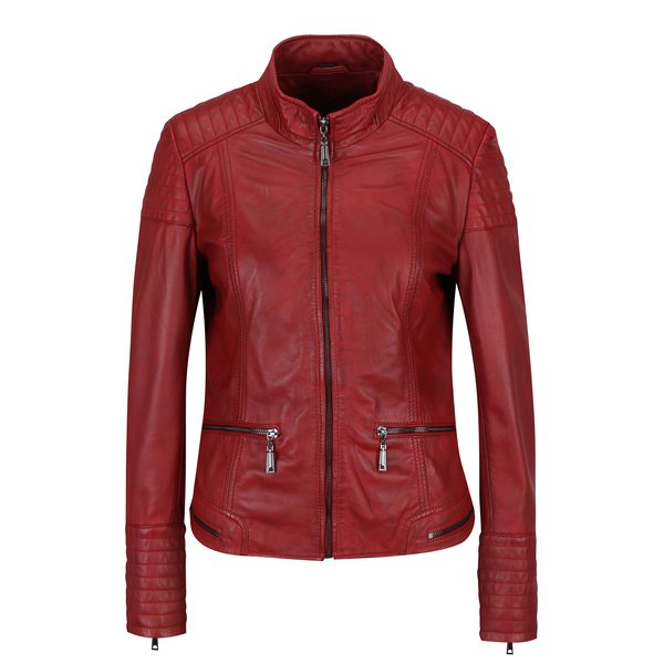 Jacheta biker rosie din piele naturala cu fermoare pentru femei - KARA Pavlina