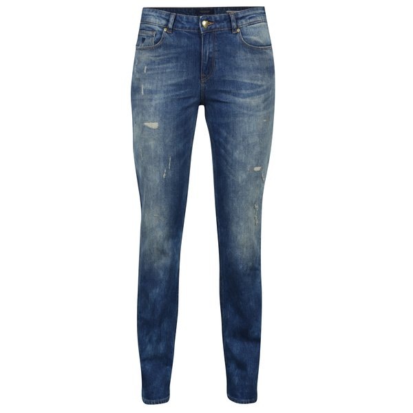Blugi slim albastri cu aspect deteriorat Scotch & Soda