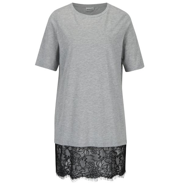 Rochie – tricou gri melanj cu terminatie din dantela neagra – Noisy May