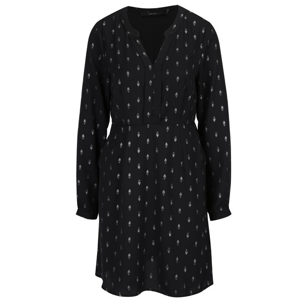 Rochie neagra cu maneci lungi si print - VERO MODA Folia