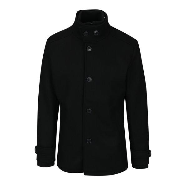 Pardesiu negru de iarna din amestec de lana pentru barbati Jack & Jones Joe