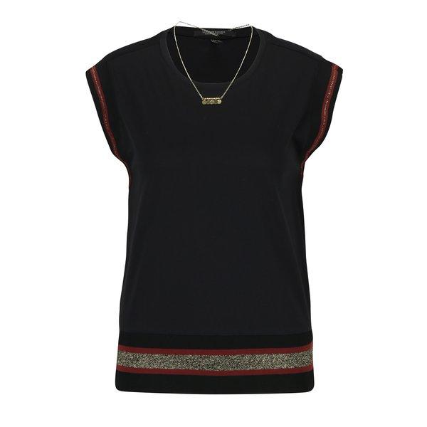 Tricou negru cu tiv decorativ cu detalii aurii si colier Scotch & Soda