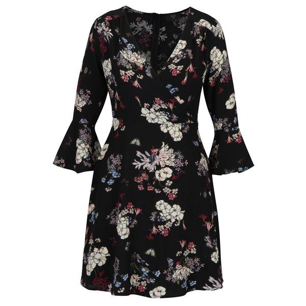 Rochie cu print floral negru & crem si maneci tip clopot - AX Paris