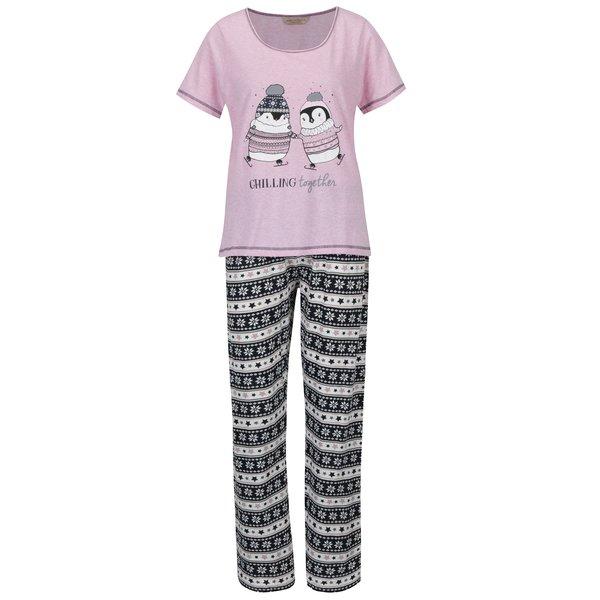Pijama roz & albastru cu model print – Dorothy Perkins