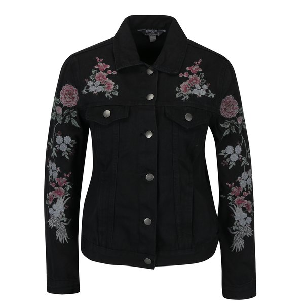 Jacheta neagra din denim cu broderie - Dorothy Perkins