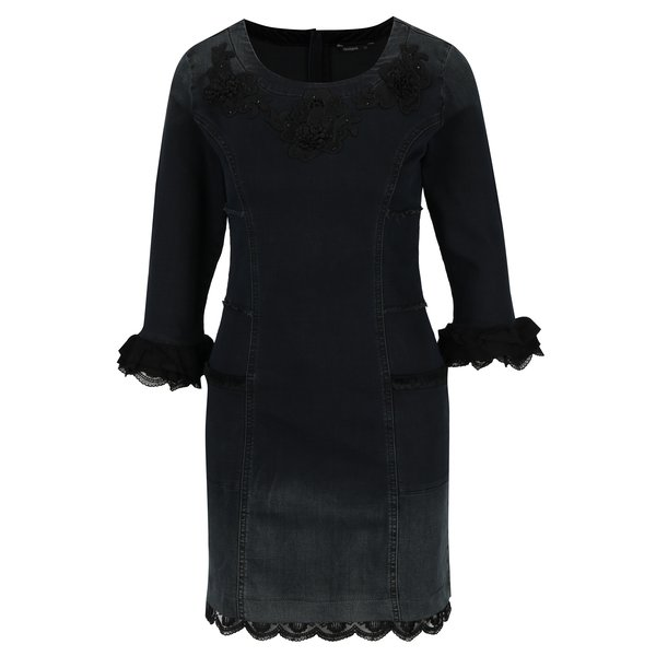 Rochie mini neagra din denim in degrade Desigual Agnes