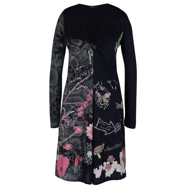 Rochie neagra cu print multicolor si nod la decolteu Desigual Carina