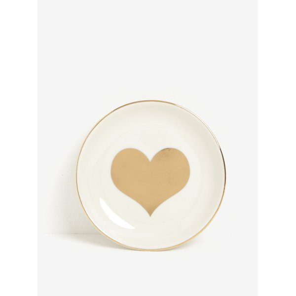 Suport din portelan pentru bijuterii cu inimioara aurie - Sass & Belle Gold Heart