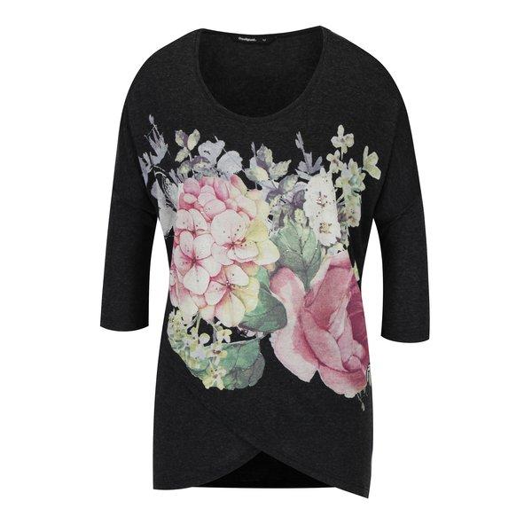 Bluza gri inchis cu print floral si strasuri Desigual Nati