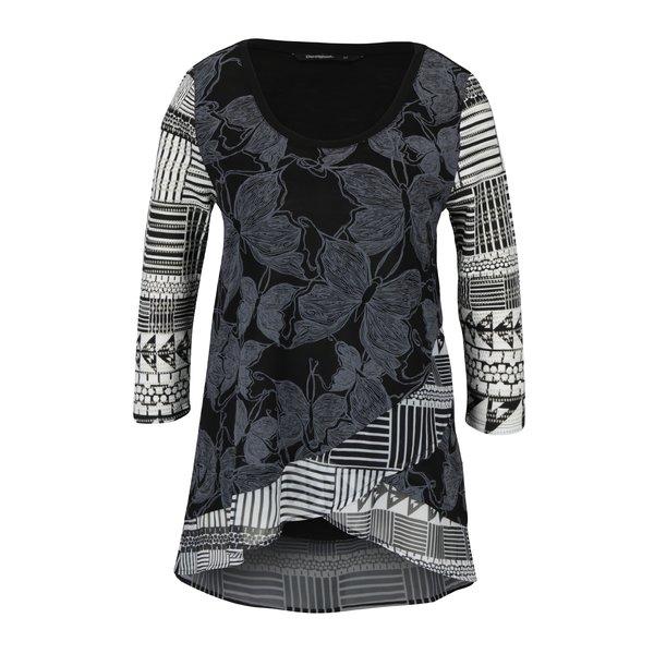 Bluza cu print alb negru si model suprapus Desigual Repeto