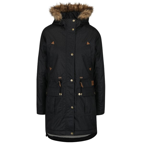 Geaca parka gri inchis impermeabila de iarna cu gluga - MEATFLY Rainy 2