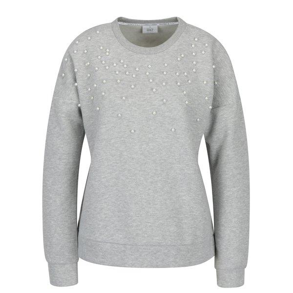 Bluza lejera gri cu perle aplicate - ONLY Damian