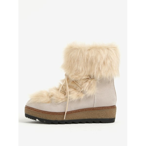 Ghete bej de iarna cu platforma si blana artificiala – Tamaris
