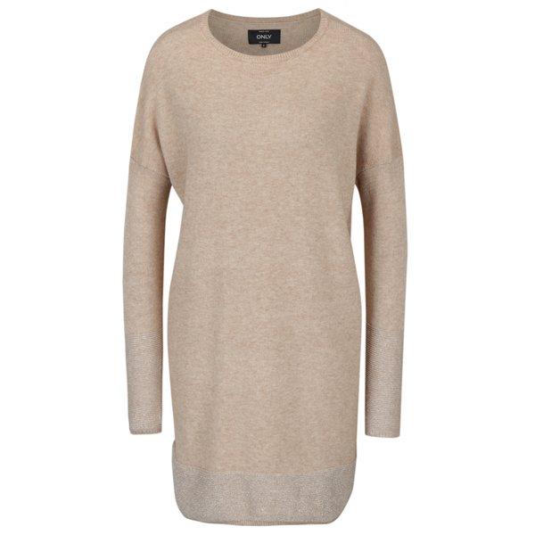 Rochie – pulover bej cu terminatii stralucitoare – ONLY Lily