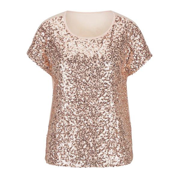 Bluza cu paiete roz si spate partial transparent - ONLY Zille