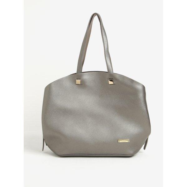 Geanta shopper argintie din piele cu model 2 in 1 Liberty by Gionni Lorraine