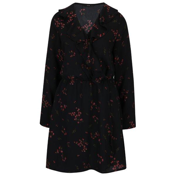Rochie neagra cu print floral si volane VERO MODA Parisan