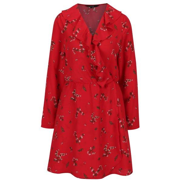 Rochie rosie cu print floral si volane VERO MODA Parisan