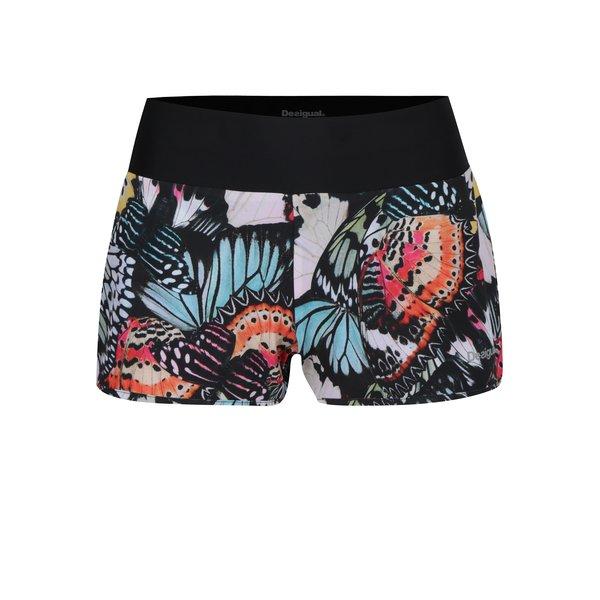 Pantaloni scurti cu print fluturi si talie lata elastica Desigual Sport