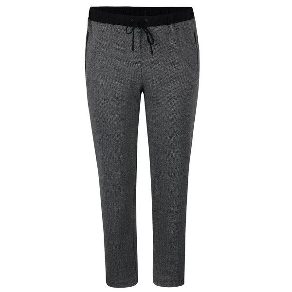 Pantaloni sport gri inchis&negru cu model chevron Ulla Popken