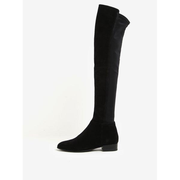 Cizme inalte negre peste genunchi din piele intoarsa si material textil - Vagabond Gigi
